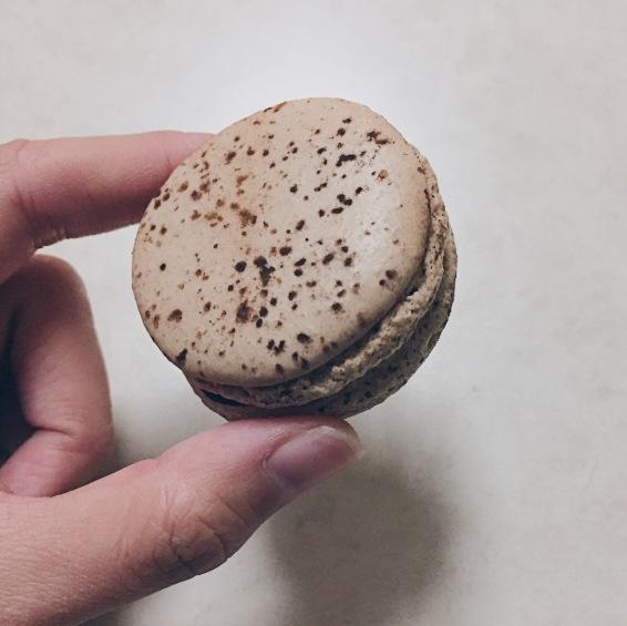 Chocolate Fleur de Sel macaron